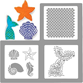 Palksky Large Size Mermaid Sea Life Cookie Stencil 3 Pack/European Artisan Bread Stencils Cupcake Stencil Food Safe Templates for Baking Decorating, Mermaid tail, scales, seashells, seahorses,(6