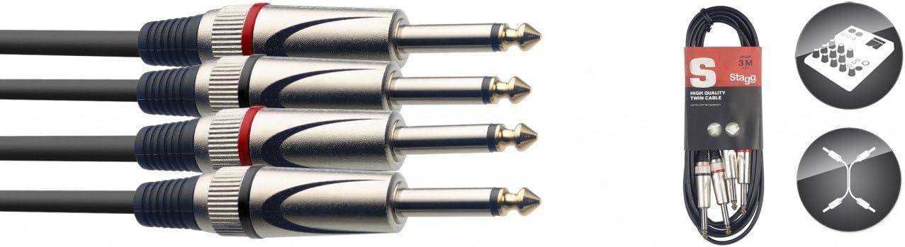 Stagg STC3P - Cable jack a jack (mono, macho, acodado, 3 m), color negro