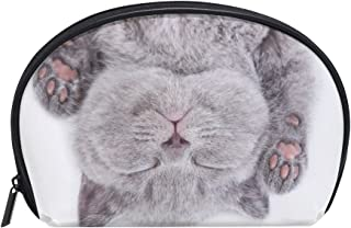 ALAZA British Cat Half Moon Cosmetic Makeup Toiletry Bag Pouch Travel Handy Purse Organizer Bag for Women Girls