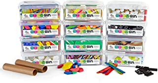 hand2mind STEM Bins Kit by Brooke Brown for Kids (Set of 12) - 18 Different Manipulatives, 8 Challenge Yourself Cards, 8 Writing Prompt Cards, and Teacher Guide