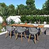 Amazonia Bruges 7-Piece Outdoor Rectangular Dining Table Set   Teak Finish   Ideal for Patio and Indoors