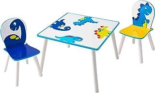 Dinosaur Ensemble de Table avec 2 Chaises pour Enfants, Bois, Multicolore, 63 x 63 x 45 cm