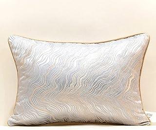 White And Grey Modern Flower Design Fabric Rectangular Cushion Cover