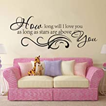 Wall Sticker How Long Will I Love You Quote Song Lyric Wall Sticker Bedroom Girl Room Music Family Love Quote Wall Decal Nursery Kids Room56x21cm
