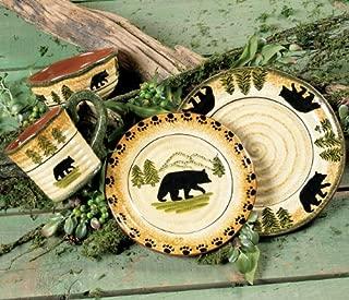 Black Forest Décor Black Bear Forest Dinnerware Set - 16 pcs - Cabin Dining Decor