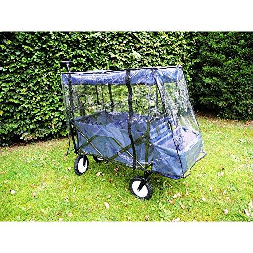 Bieco 22002117 Klappbarer Bollerwagen mit Dach und Regenschutz, blau, ca. 110 x 50 x 92 cm, bis 75 kg
