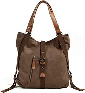 GLJJQMY Canvas Handbag Casual Female Shoulder Bag Multi-Function Shoulder Bag Bucket Messenger Bag, 31x10x35cm Hand Bag (Color : Khaki)