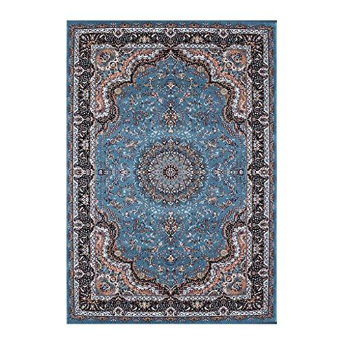 Review CarPet Area Rug,Persian Retro Bedroom Rectangular Villa Blue (Size : 80×150cm)
