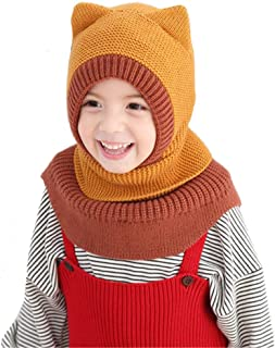 Wxllzlife Baby Girls Winter Hat Boys Warm Scarf Hat Kids Thick Earflap Hood Cap with Ear 1T-6T