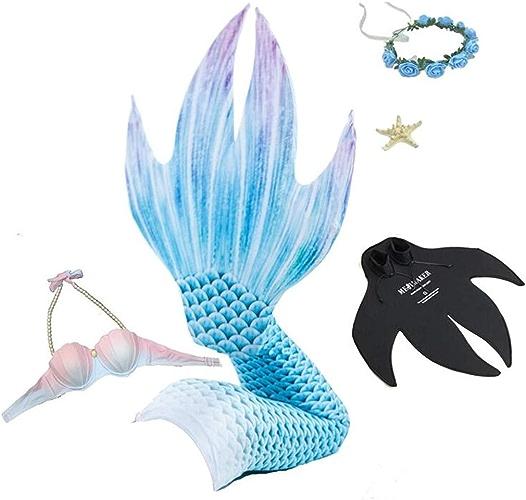 DDPP Maillot de Bain Sexy,Queues de sirène pour Nager,Bikini de sirène pour Adulte,Costumes de Bain pour la nage à la Queue,avec Jeux de nageoires Couleurées pour Adultes,bleu,8