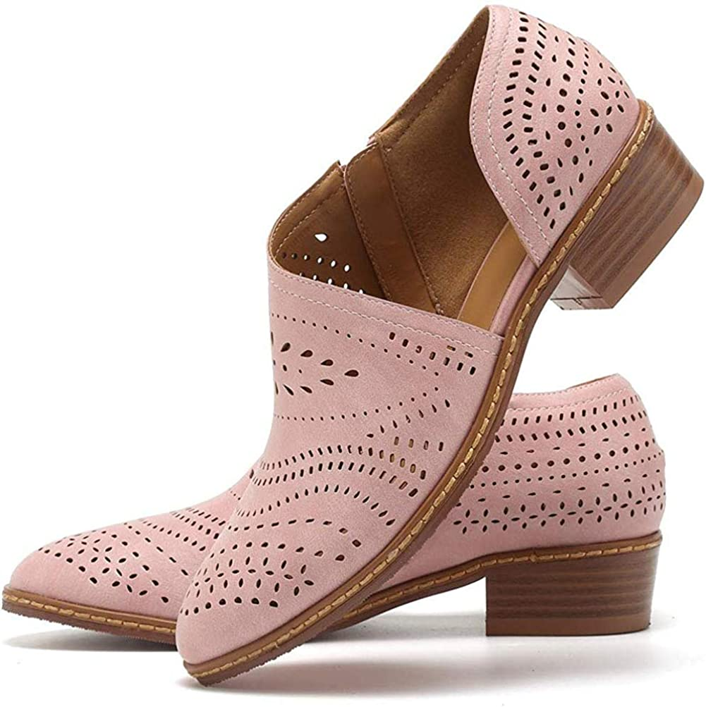 JITUUE Ankle Boots for Women Casual Slip On Loafers Pointed Toe Chunky Block Low Heel Shoes Cut out Office Dress Comfy Casual Booties