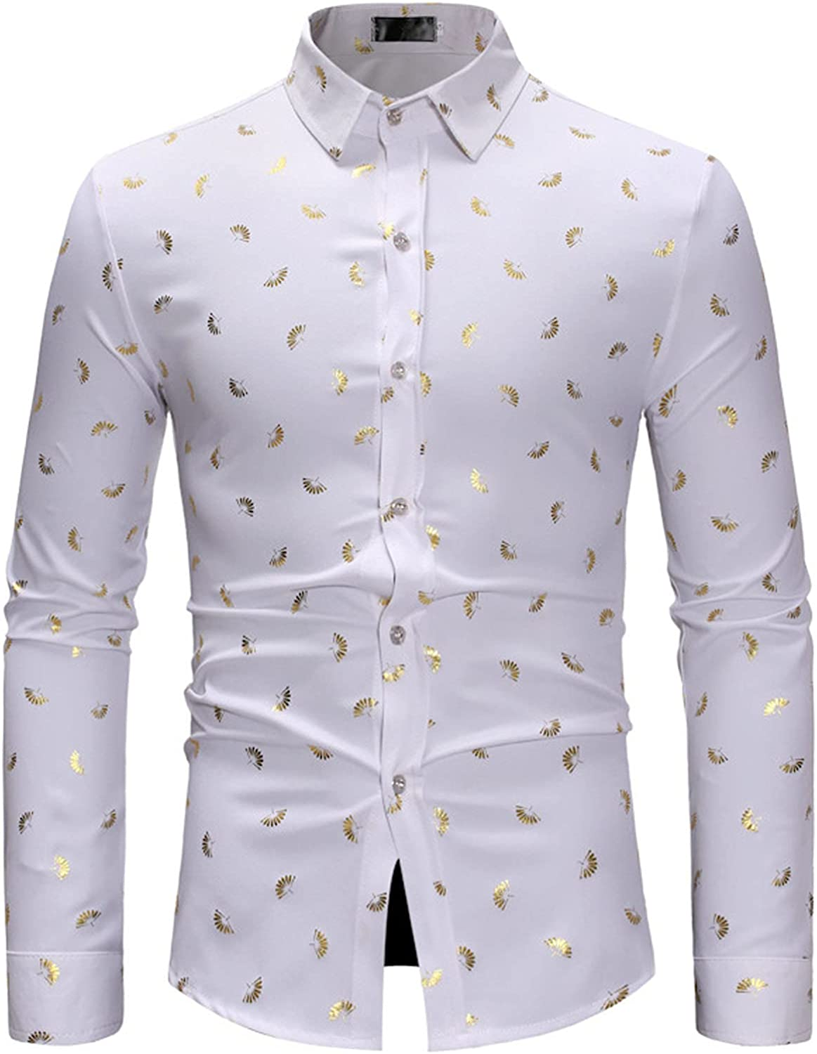 Men's Slim Fit Printed Pattern Shirts Long Sleeve Casual Button Down Dress Shirt Office Clothes