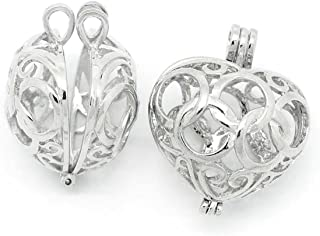 HOUSWEETY 3PCs Copper Charm Pendants Hollow Heart Bead Cages Silver Tone (Style 1)