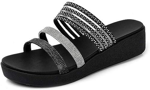 Ailj Sommersandalen Für Damen, Dicker Bodenbelag Flacher Bodenkeil Sand Ziehen Mode Tragen Sandalen Mit Diamanten 2 Farben