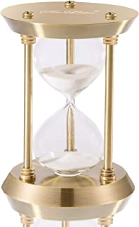 SuLiao Hourglass Timer Sand Clock with 5 Minutes & Brass Metal Hour Glass for Decor Sandglass Timer