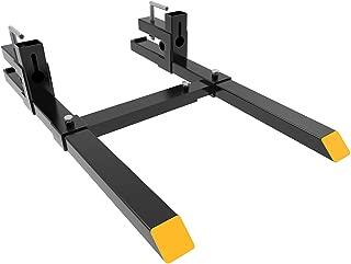 YINTATECH Clamp on Pallet Forks 43 inch Pallet Forks 1500lbs with Adjustable Stabilizer Bar for Loader Bucket Skidsteer Tractor