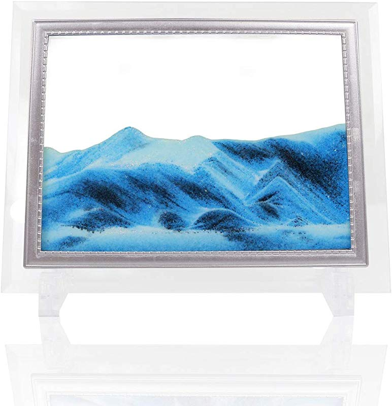 Moving Sand Art Sandscapes Decor Motion Relaxing Sand Picture For Office And Home Desktop Blue 8 6 X6 6