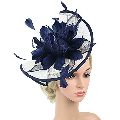 50d0373013144 Z X Fascinator with Headband Clip Cocktail Tea Party Feather Floral Pillbox  Hat Black