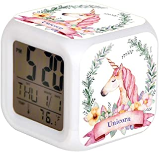 LED Alarm Colock 7 Colors Desk Gadget Alarm Digital Thermometer Night Cube Bright Home Decor Magical Unicorn with Florals