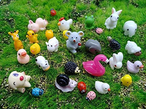 Kbraveo 45Pcs Mini Animals Miniature Ornament Kits Set for DIY Fairy Garden Dollhouse Décor Elephants Rabbits Hedgehogs hens Bunnies Cubs Chicks Bees Cows Frogs Snails Turtles Puppies Pigs Sheep