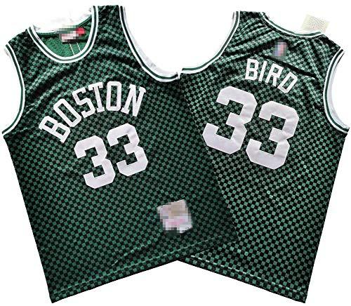 Wo nice Uniformes De Baloncesto para Hombre, Boston Celtics # 33 Larry Bird NBA Verano Ocio Deportivo Chaleco Sin Mangas Camisetas Tops Retro Basketball Jerseys,Verde,L(175~180CM)