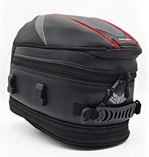 Motorcycle Tail Bag, 21 Liters Multifunctional Waterproof Fiber Leather Travel Riding Helmet Bag Backseat Rear Seat Saddle Bags, Luggage Carry Bag Black