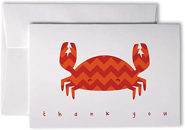 Chevron Baby Thank You Note Cards 48 Cards Envelopes Red Crab