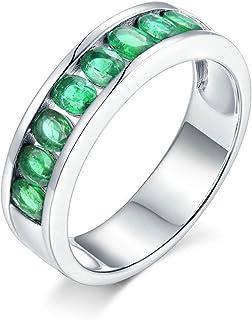 ButiRest - Anello in oro bianco 750 18 carati, 18 carati, taglio ovale 1,08 carati, smeraldo VS