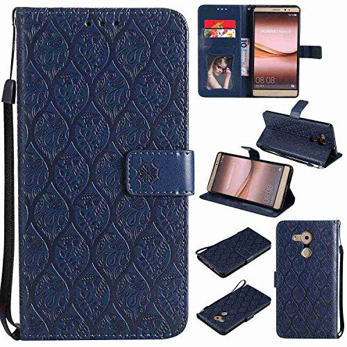 pinlu® PU Leder Tasche Handyhülle Für Huawei Ascend Mate 8 (6zoll) Smartphone Wallet Hülle Mit Standfunktion und Kartenfach Design Rattan Blume Prägung Dunkelblau