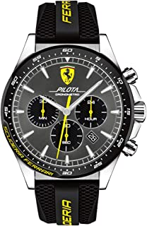 Ferrari Men's Pilota Stainless Steel Quartz Watch with Silicone Strap, Black, 22 (Model: 0830594)