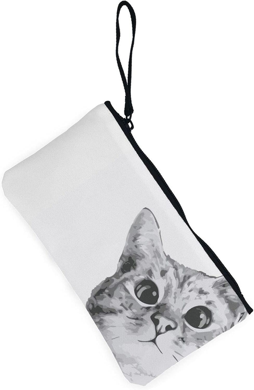 AORRUAM Grey cat Canvas Coin Purse,Canvas Zipper Pencil Cases,Canvas Change Purse Pouch Mini Wallet Coin Bag