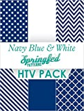 NAVY BLUE & WHITE HTV SPECIAL PACK #2 Chevron Pattern, Polka Dot, Color, Stripes HTV for T-Shirts!