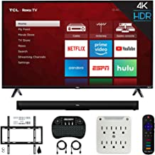 $489 » TCL 55S425 55-inch 4-Series 4K UHD Roku Smart TV (2019) Bundle Alto 5 TS5000 2.0 Channel Sound Bar, Wireless Keyboard, Deco Mount Wall Mount Kit and 6-Outlet Surge Adapter with Night Light