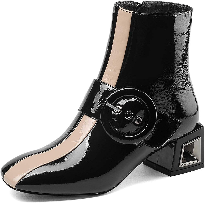 Booslipss, Square Head Thick Thick Thick Heel Mid Heel mode stövlar Fall  Winter läder Metal Belt Ladies stövlar skor (Färg  Svart, Storlek  35)  försäljning online spara 70%