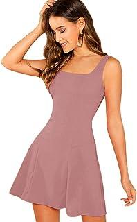 Romwe Women's Solid Short Sleeve Pocket Loose Maxi Long Party Dress