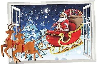 Yililay Kerstwandsticker, kerstraamsticker, winter-Kerstmis, 3D-kunstraam, wandsticker, kerstvenster, kerstdecoratie, goed...