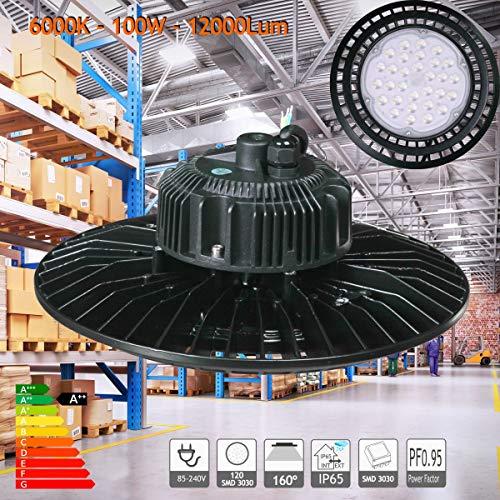 JANDEI - Campana LED UFO 100W 18000 Lum luz blanca 6000K
