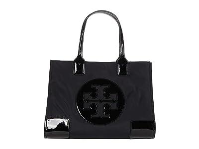 Tory Burch Ella Patent Mini Tote (Black) Handbags