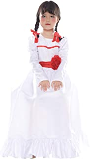 Womens Girls Annabelle Cosplay Costume Dress Red Rose Party Princess Dress Long Sleeve