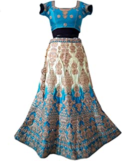 Indian Style Bridal Set Silk Kundan and Mirror Work Gold Embroidery Sky Blue And Golden Used Lehenga Choli with Dupatta,Latkan,lehenga choli for women fully stitched