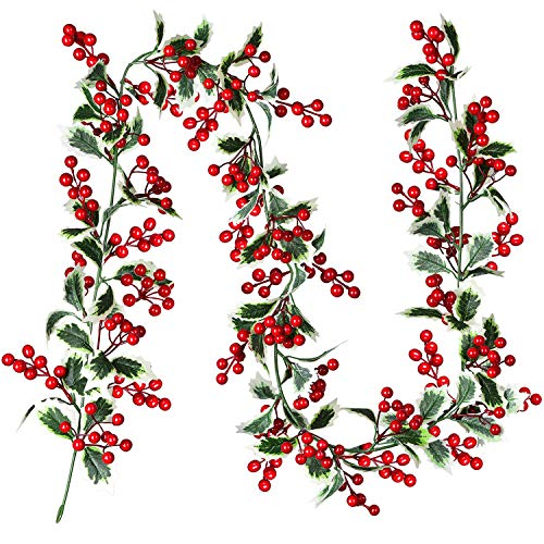 Artiflr Red Berry Christmas Garland, 6Feet Flexible Artificial Berry Garland for Indoor Outdoor Home Fireplace Decoration for Winter Christmas New Year Holiday Decor