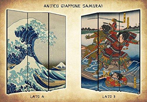 Separè Paravento bifacciale Giappone Samurai in Tela di Cotone e Legno - Alta qualità   3 Pannelli: 135,6 x 176 x 3,1cm