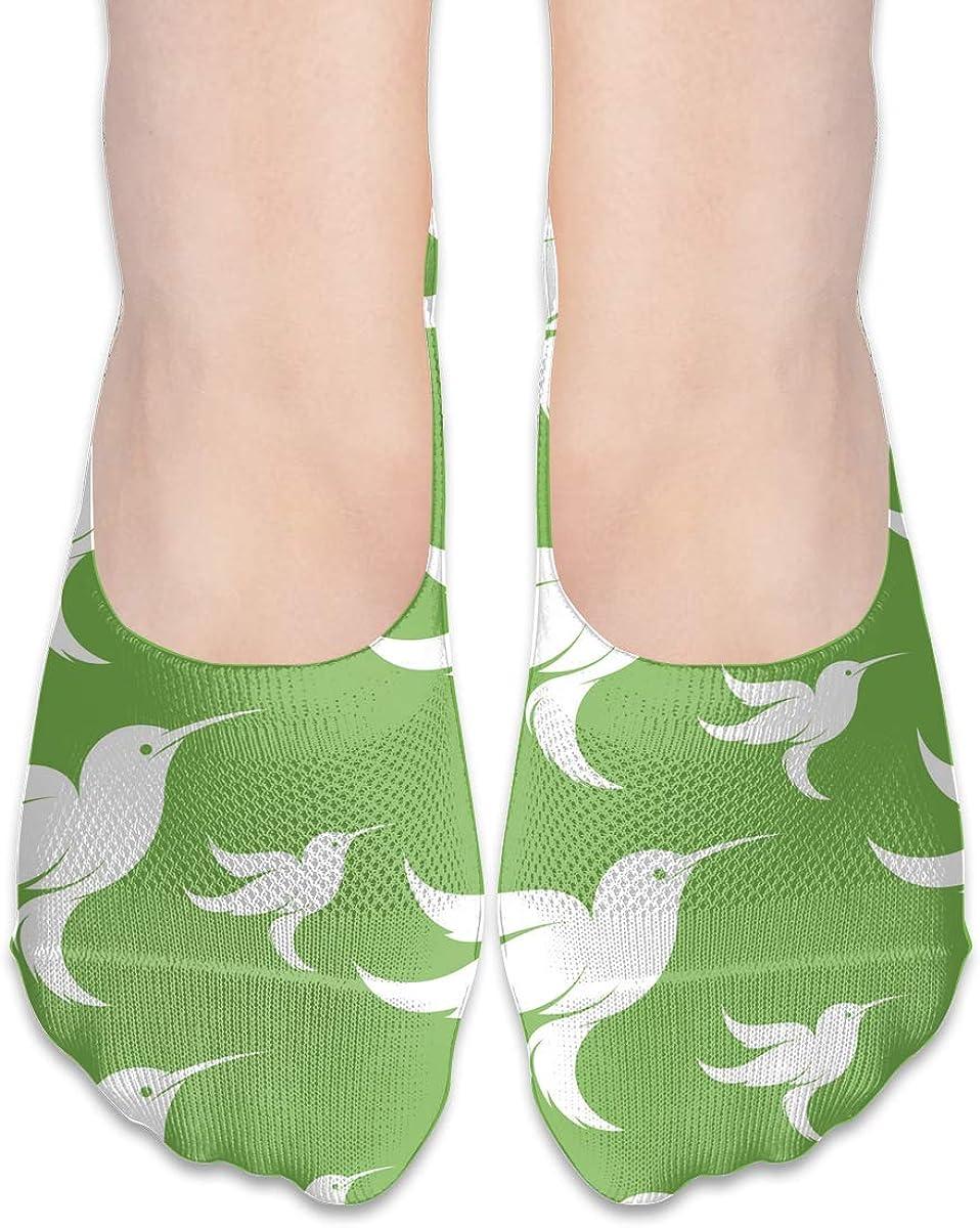 No Show Socks Hummingbird In Green Cotton Thin Non Slip Low Cut Invisible Sock