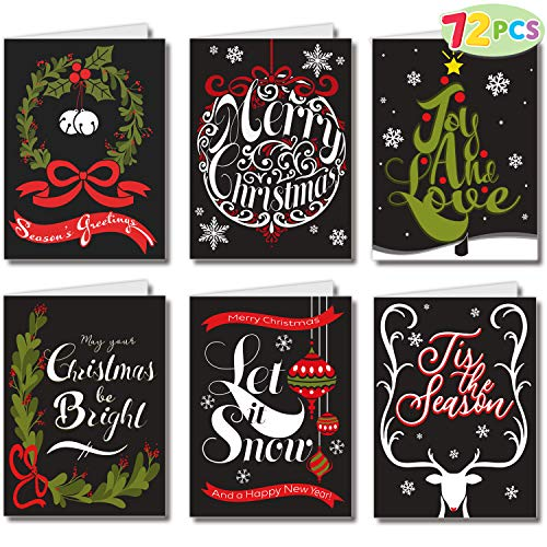 """72 Piece Holiday Christmas Greeting Cards with 6 Artistic Greeting Designs & Envelopes 6.25"""" x 4.6"""" for Winter Christmas Season, Holiday Gift Giving, Xmas Gifts Cards."""