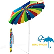 690GRAND Giant Heavy Duty 8FT Rainbow Beach Umbrella with Crank Tilt and Carry Bag 20 Panels Sturdy Polyester Canopy for Patio Camping UPF50+