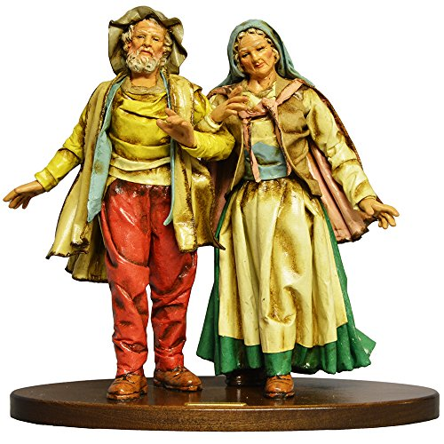 Arte Sacra di Claudio Riso Älteres Paar Arm in Arm Figur aus Pappmaché und Terrakotta.