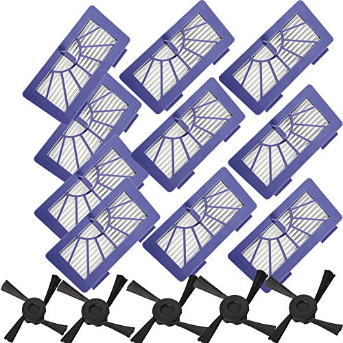 SDFIOSDOI Piezas de aspiradora Cepillos Laterales de Filtro HEPA Ajuste para Neato XV-11 XV-21 XV-15 XV-12 XV-14 945-0048 Filtros de aspiradora