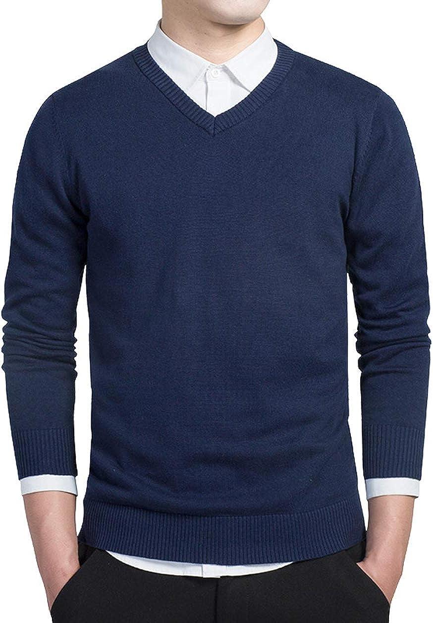 CHARTOU Men's Basic V Neck Lightweight Long Sleeve Knitwear Sweater Pullover