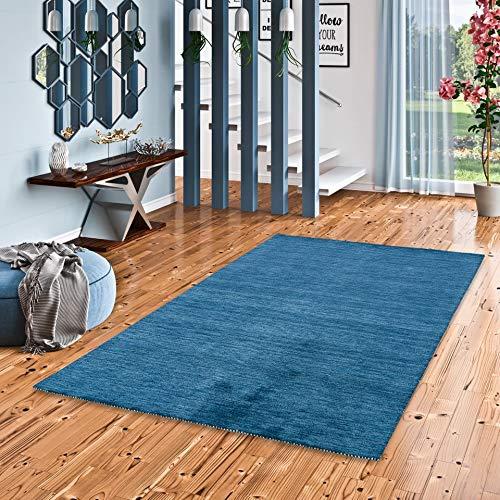 Theko Natur Teppich Indo Gabbeh Ella Blau in 8 Größen