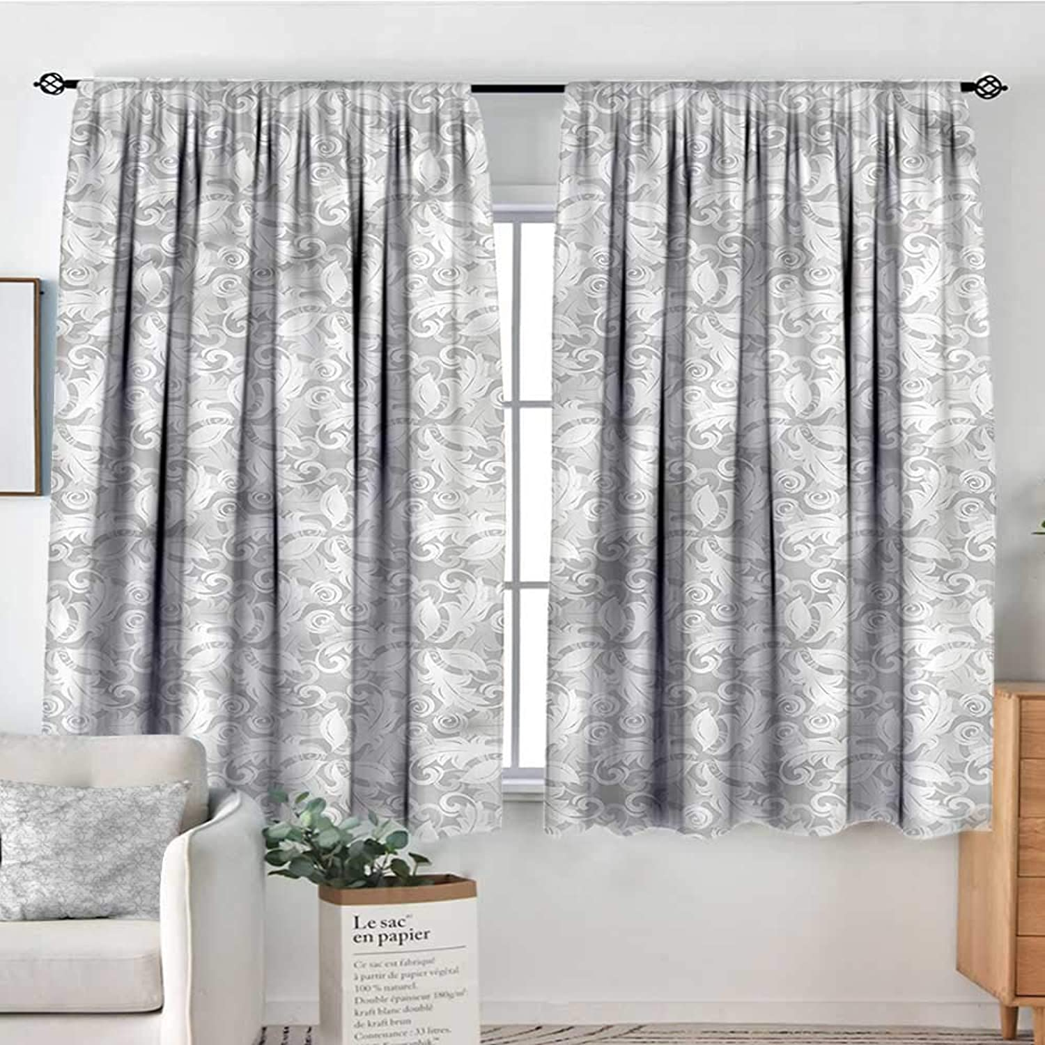 Grey,Rod Curtains Swirled Blossom Leaves 42 X63  Backout Curtains for Kids Iving Room